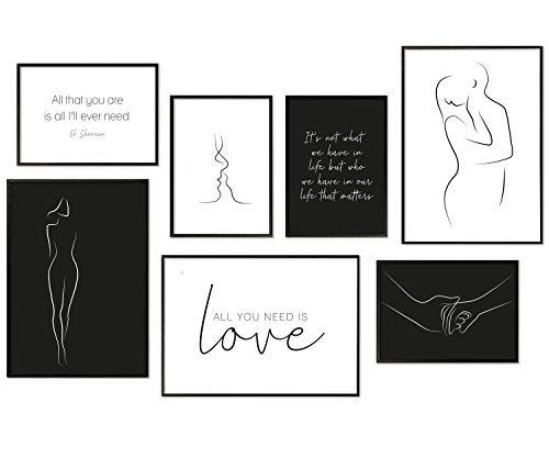Hyggelig Home Premium Poster Set - 7 passende Bilder im stilvollen Set als Wohnzimmer Deko - Collage Wand Bild Schlafzimmer Flur - 3 x DIN A3 + 4 x DIN A4 - Line Art ohne Rahmen