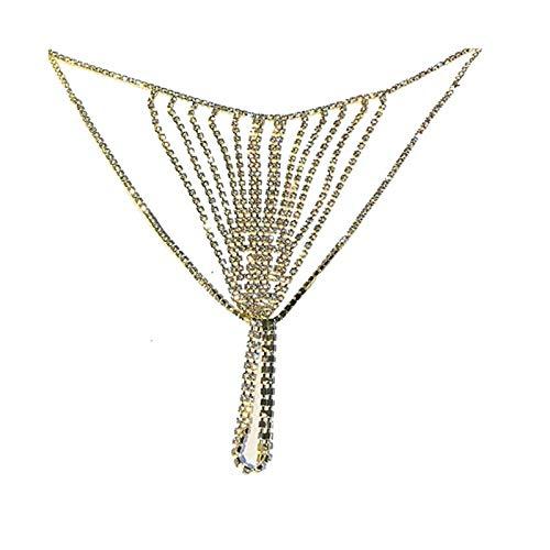 NXNP Joyería del Cuerpo de la Tanga del Cristal de Las Mujeres (Color : Style 2 Gold)