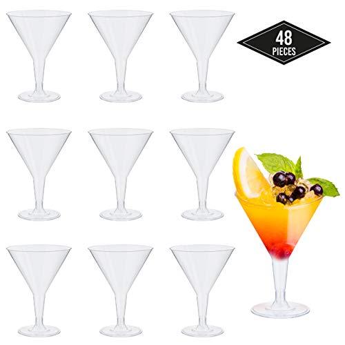 48 Premium Wegwerp Kunststof Martini Bril, 210 ml - Duurzaam Herbruikbaar & Recyclebaar Party Servies| Cocktail Bril voor Feesten, Verjaardagen, Kerstmis, Nieuwjaar Vieringen.