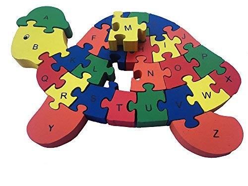 Wooden Kids Puzzles Tortoise - Family Game for Kids, Interactive Educational Toys for Age 3 - 8 Baby Preschool Toddler Boys Girls