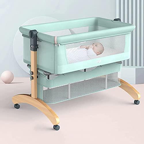 HEZHANG Cuna de Bebé, Cuna con Colchón de Algodón Cuna de Bebé con Bolsa de Transporte Cama de Bebé Plegable de una Tecla, Capacidad de Carga de Hasta 80 Kg,Verde