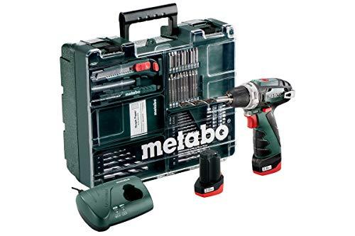 Metabo 600080880 Akku-Bohrschrauber klein PowerMaxx BS Basic Set 10,8V, 2x 2Ah Li-Ion Akkus, inklu. Ladegerät, im Koffer, mit 64-teiligem Zubehör-Set, max. Drehmoment: 17Nm (weich)/ 34Nm (hart)
