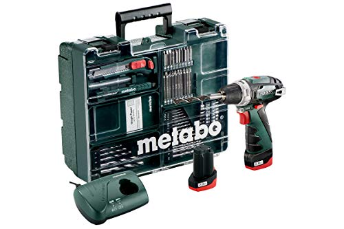 Metabo 6.00080.88 PowerMaxx BS Basic Driver with Quick Change Drill Chuck, Charger, 2 x 2.0Ah Batteries and 62 Piece Mobile Workshop, Green, 1