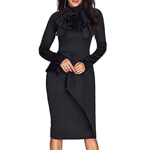 Xuthuly Frauen Elegante Fliege Stand Kragen Formelle Büroarbeit Kleid Mode Sexy Schößchen Hohe Taille Slim Fit Langarm Kleid