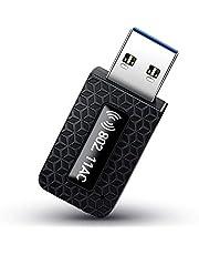 AKEIE WiFi 無線LAN 子機 1300Mbps USB3.0 高速度 デュアルバンド 2.4GHz/5GHz 802.11ac技術 複数放熱穴 WPS暗号機能 ミニ USB 小型 無線LANアダプター Windows10/8/7/XP/Vista/Linux/Mac OSX 対応 認証済み