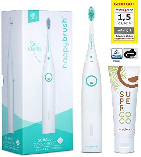cepillo de dientes sónico happybrush | 5 semanas de batería, temporizador y 3 programas de limpieza | Cepillo de dientes eléctrico impermeable VIBE 3 blanco con cepillo y pasta de dientes