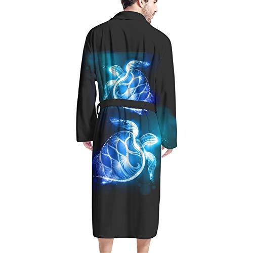 Coloranimal Aqua Hibiscus - Accappatoio da uomo con stampa floreale Tartarughe marine blu neon Taglia unica