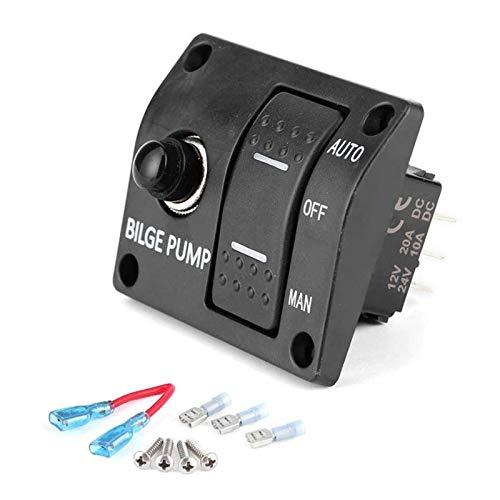 Keep it simple Panel de interruptores de basculante de Bombeo de 3 vías Auto/Apagado/Manual 12V 24V con INDICADOR LED Disponente 15A Incorporado