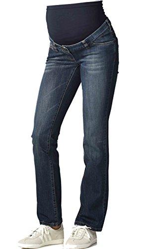 Christoff Umstandsjeans Schwangerschaftsjeans Five-Pocket-Hose - Boot Cut - klassischer Freizeitlook - elastisches Bauchband - 373/91/8 - blau - 38 / L34