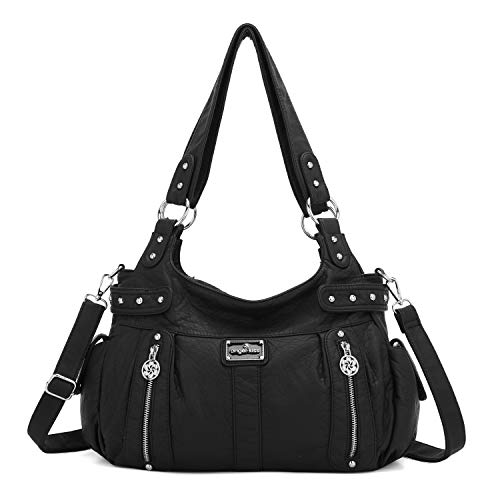 Angelkiss Large Purses and Handbags for Women Washed Faux Leather Crossbody Hobo Satchel Shoulder Handbag Tote Purse