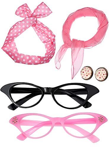 SATINIOR Damen 50 Jahre Kostüm Zubehör Set Mädchen Schal Stirnband Ohrringe Cat Eye Brille für Teily (Farbe Set 3)