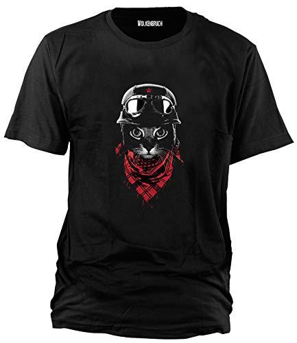 Wolkenbruch Herren T-Shirt Biker Katze Cat, Gr.M-XXXXXL, Schwarz, XXL