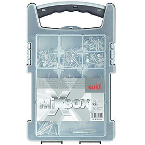 suki. Mixbox Schrauben für Außen, 470 teilig Holzschrauben, Zink-Aluminium-Lamellen-Beschichtung, TX - 1 Stück (6107160)