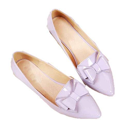 Damesschoenen Met Spitse Neus Mode Strik Pumps Casual Slip Flat Loafers Elegant Office Ondiepe Mond Bootschoenen Groot Formaat