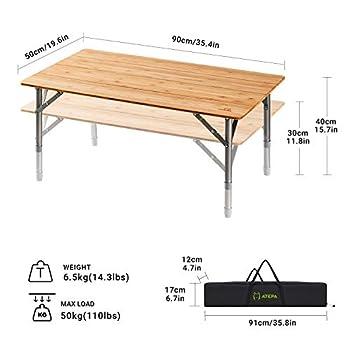 ATEPA Table de Camping Pliante Table de Pique-Nique Portable en Bambou avec Hauteur Réglable de 30 à 40cm Revêtement Anti-UV Léger Durable pour 2 à 6 Personnes à Plage Parc Jardin Cour et Maison
