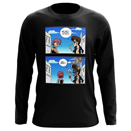 Okiwoki T-Shirt Manches Longues Noir Parodie Fairy Tail - Natsu Dragnir - Hey mec, t'as Pas du feu ? (T-Shirt de qualité Premium de Taille L - imprimé en France)