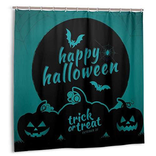 MAYUES Cortina de Ducha, Feliz Halloween Truco o Trato Calabazas, murciélagos y telaraña Set de Cortina de baño de Luna Llena con Ganchos
