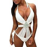 BBsmile Traje de Baño Mujer Una Pieza Sexy - Color sólido Diamante Trikini Mujer Push up 2019 Bañador de Baño - Bikini Mujer Brasileños