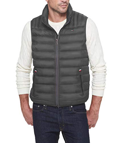 Tommy Hilfiger Men's Lightweight Ultra Loft Quilted Puffer Vest (Standard and Big & Tall), Charcoal, X-Large
