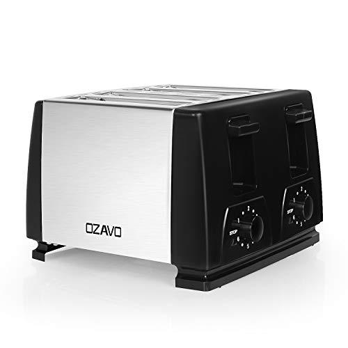 OZAVO Toaster 4 Scheiben, 1300w, Toaster 4er, Bräunungsgrad 1-6 Stufe, Krümelschublade, edelstahl/schwarz