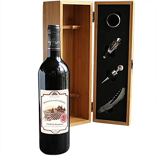 CADEAUX.COM Wein Geschenk Box - Dekantierset Sommelier Set, 4 Weinzubehör und 1 personalisierbare Rotweinflasche Bordeaux aus Frankreich