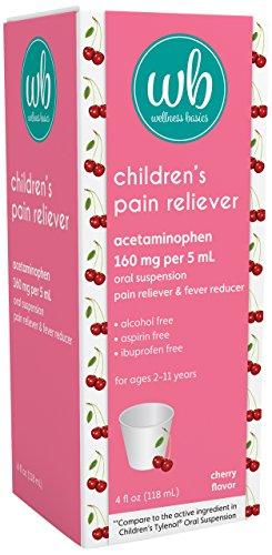 Wellness Basics Children's Pain & Fever Relief Acetaminophen Liquid, Cherry, 4 Fluid Ounce