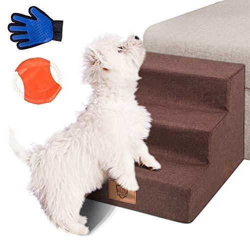 Masthome Hundetreppe mit Haustierhandschuh und Haustier Frisbee 3 Stufen Haustier Treppe für Klein Hunde und Katzen