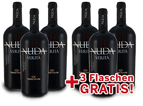 Torrevento Primitivo NUDA VERITÀ - Italien-Apulien Vorteilspaket 6 für 3 (6x 0,75l) Rotwein trocken