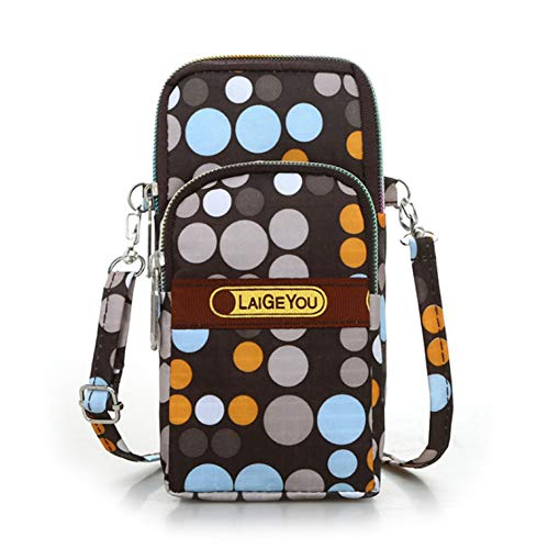 Fashion Sports Shoulder Bag Mini Wrist Purse Armband Bag Universal Phone Holder Pouch Case for iPhone/Samsung/LG/Moto/Black Berry/Sony/HTC/Nexus/Nokia/Lumia/Huawei and So on (Brown Dot)