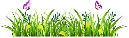 EmmiJules Wandtattoo Pusteblume grüne Wiese (130cm x 40cm) - Made in Germany - Schmetterling Löwenzahn Wohnzimmer Wandaufkleber Wandsticker Gras Gräser Pflanzen Blumen