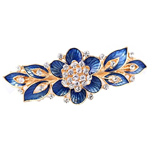 YAZILIND Elegante Joyas de Estilo Floral con Encanto Chapado en Oro Nupcial Accesorio de Pelo Shinning Rhinestone Barrette de Pelo de Cristal para Las Mujeres Clips Horquillas de Pelo (Azul)