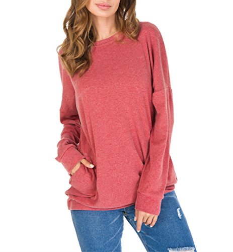 CZGBT Women's Casual Long Sleeve Round Neck Hoodies Tops Fashion Loose Sweatshirt with Pockets (M, Red)