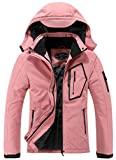 SUOKENI Women's Waterproof Warm Winter Snow Coat Hooded Raincoat Ski Snowboarding Jacket