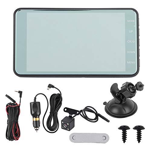 KIMISS Grabadora de conducción de automóviles, cámara DVR para automóvil de doble lente de 4 pulgadas con pantalla táctil 1080P G-Sensor 170 ° Gran angular de visión nocturna Monitor de estacionamient