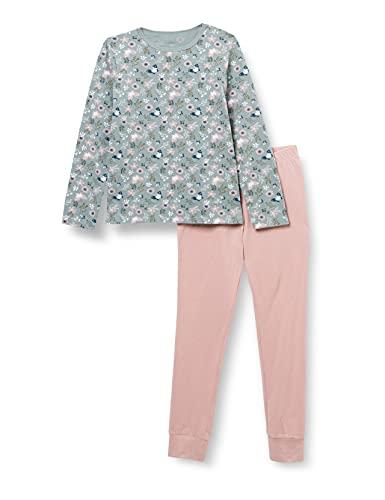 NAME IT Mädchen Nkfnightset Pale Mauve Flower Noos Pyjamaset, 110-116 (2er Pack)