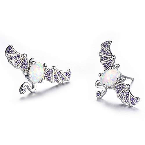 J.Memi's Collana di Pipistrello Opale Zirconia Cupido Special Design Ciondolo Orecchini Gioielli per Natale Compleanno Anniversario,Earrings