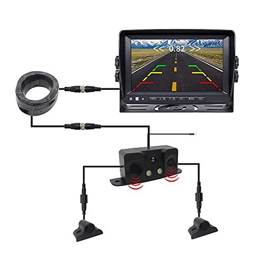 Cámara de inversión de automóviles, camión, radar de inversión, cámara integrada de video, cámara de alta definición de 24V 12V, sin instalación de punzonado, pantalla de 7 pulgadas, fácil de instalar