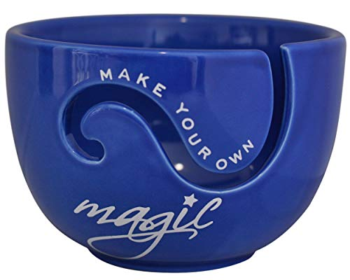 "Ceramic Yarn Bowl for Crochet and Knitting Accessories - Best Yarn Holder - Fits Extra Large Yarn Ball or 4 to 5 Small Balls - Perfect Gift for Knitters and Crocheters 6.5'' x 4.5"" (Royal Blue)"