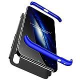 JOYTAG compatibles para Funda Xiaomi Redmi Note 7 Carcasa +Cristal Templado de Vidrio Templado 360 Grados Caja 3 en 1 PC Case-Azul Negro