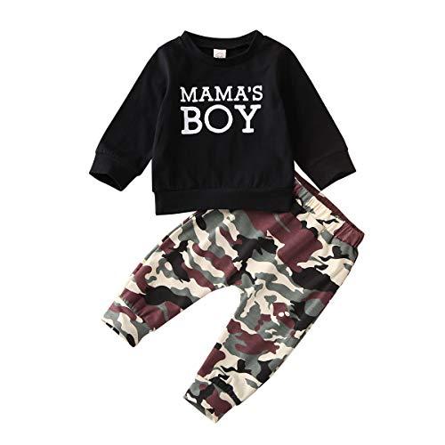 Geagodelia - Conjunto de 2 piezas para bebé de manga larga y pantalones de chándal de camuflaje Negro 80 cm(3-6 meses)