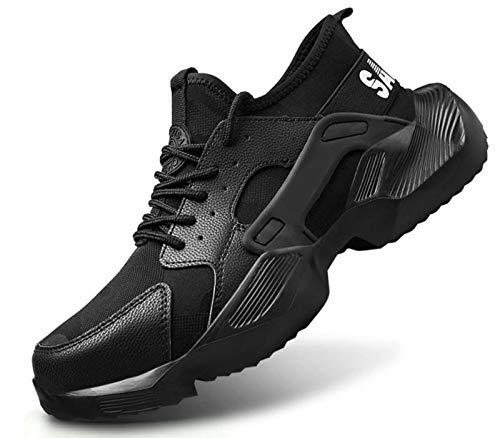 Zapatos de seguridad para hombre y mujer, ligeros, deportivos y transpirables, con puntera de acero, antiarañazos, antiperforación., color Negro, talla 38 EU