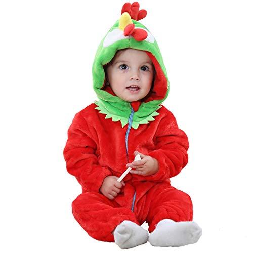 MRULIC Neugeborenes Baby Jumpsuit Outfit Dinosaurier Reißverschluss mit Kapuze Spielanzug Overall Outfit Kleidung Niedlicher Babyschlafsack Onesies Herbst und Wintermodelle(A-Rosa,65-70CM)