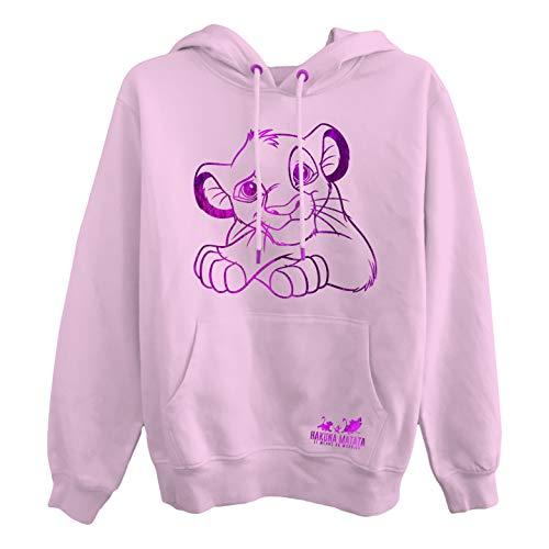 Disney Ladies Lion King Fashion Sweatshirt - Ladies Classic Hakuna Matata Clothing Lion King Foil Hoody (Blush, X-Large)