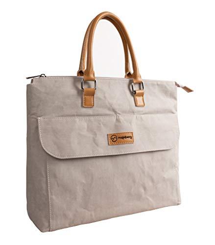 majnberg Kraft-Papier-Handtasche in grau, vegane Tasche im Vintage-Stil, wasserfeste Alltagstasche aus Zellulose mit Leder-Optik und Kunstledergriffen