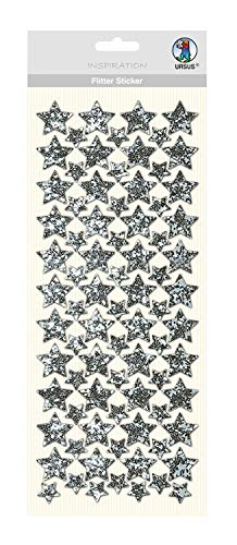 Flitter Sticker Stern, 1 Blatt Folienstoff-Sticker in silber, ca. 12 x 29 cm groß, selbstklebend, ideal geeignet für Scrapbooking, Kartengestaltung und zur Dekoration