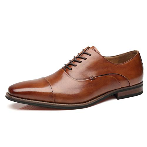 La Milano Mens Cap Toe Oxford Leather Lace Up Classic Comfortable Modern Formal Business Dress Shoes for Men, Micah-3-cognac, 8