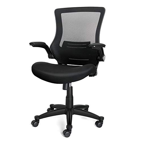 iCoudy Ergonomic Mesh Office Chair Mid Back Swivel Desk Chair Black Computer Chair with Flip-Up Armrests Lumbar Support Adjustable Height Task Chairs