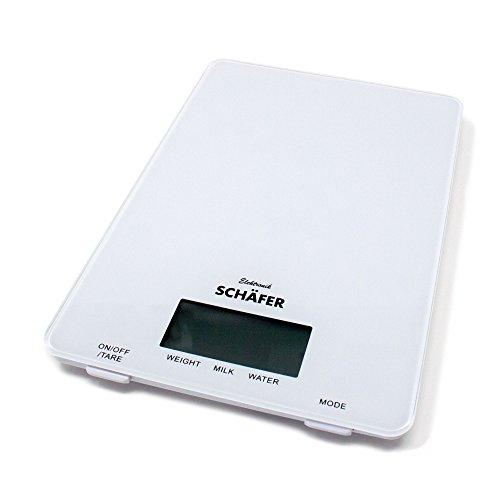 Schäfer Küchenwaage digital Weiß Feinwaage bis 5Kg für Zutaten zum Kochen und backen Digitale Waage Feineinteilung 1 Gramm (Weiß)