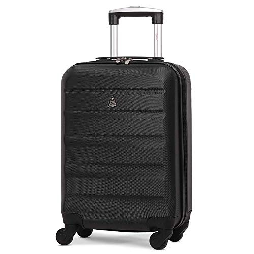 Aerolite Lightweight 55cm Hard Shell Cabin Suitcase 4 Wheel Carry On Hand Luggage Bag - Approved for easyJet, British Airways, Ryanair - Black