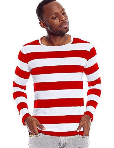 Zbrandy Mens Striped Shirt Wide Stripes Long Sleeve Crew Neck Tees Red and White S